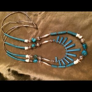 Jewelry - Double Strand Turquoise, silver beads necklace